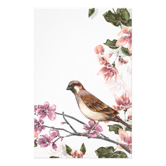 Bird on a Branch with Pink Blossoms Stationery