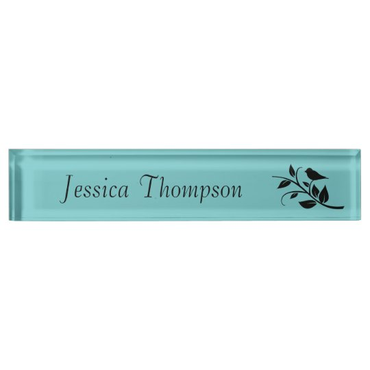 Bird on a Leafy Branch Desk Name Plate