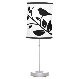 Bird on a Leafy Branch Silhouette Lamp