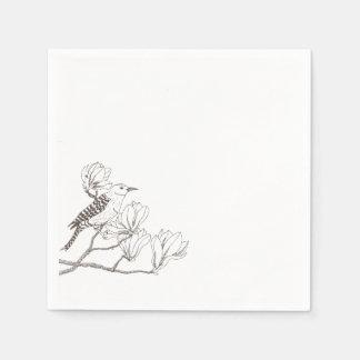 Bird on a Magnolia Branch Sketch | Napkin Disposable Napkins
