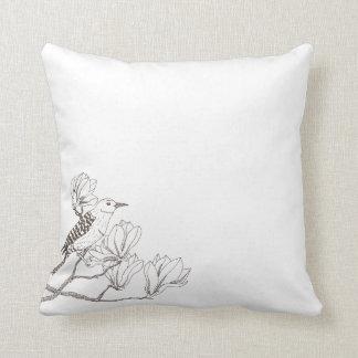 Bird on a Magnolia Branch Sketch | Throw Pillow