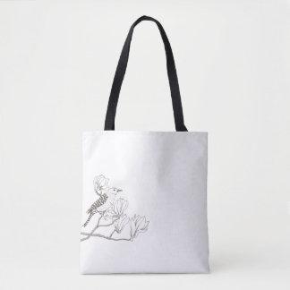 Bird on a Magnolia Branch Sketch Tote Bag