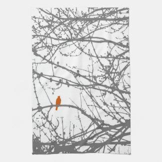 bird on a maple kitchen towel