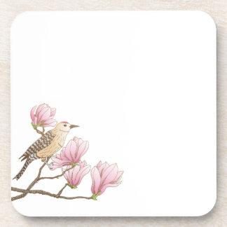 Bird on a Pink Magnolia Branch Sketch | Coaster
