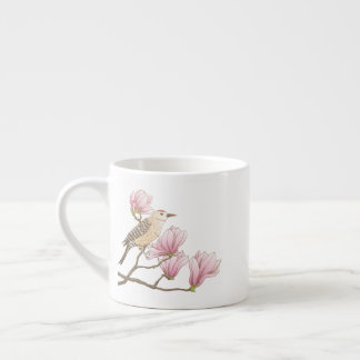 Bird on a Pink Magnolia Branch Sketch Espresso Mug