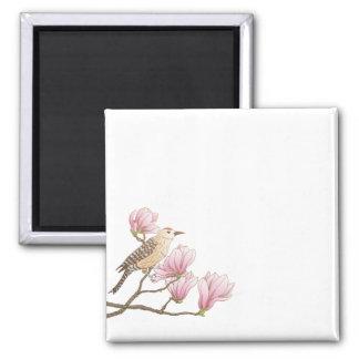 Bird on a Pink Magnolia Branch Sketch | Magnet
