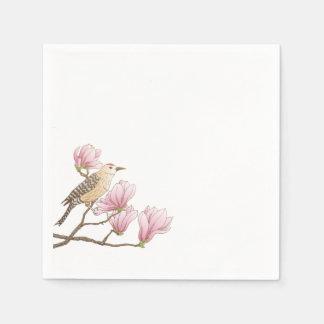 Bird on a Pink Magnolia Branch Sketch | Napkin