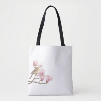 Bird on a Pink Magnolia Branch Sketch Tote Bag