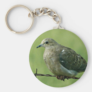"""""""Bird on a Wire"""" Dove Basic Round Button Keychain"""