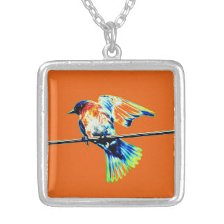 Bird on a Wire Square Pendant Necklace
