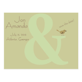 Bird on an Ampersand Save the Date Postcard