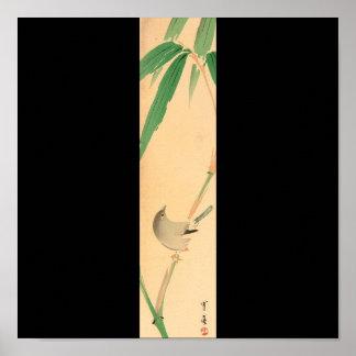 Bird on Bamboo tree by Seitei Watanabe 1851- 1918 Poster