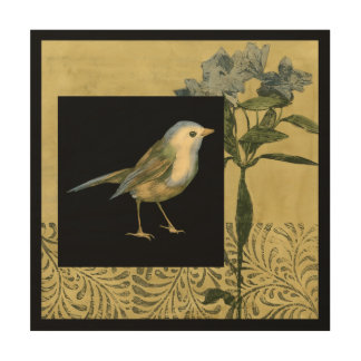 Bird on Black and Vintage Background Wood Print