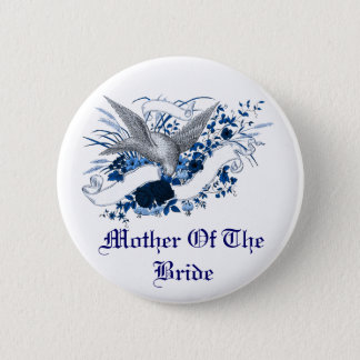 Bird on Bouquet (Blue) 2 Inch Round Button