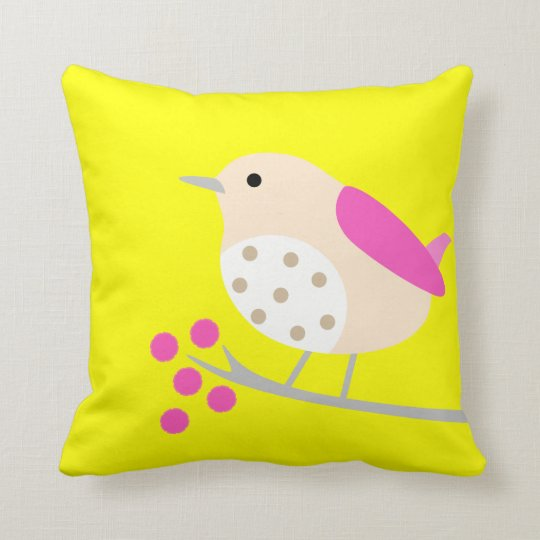 Bird on Branch & Blossoms - yellow Throw Pillow
