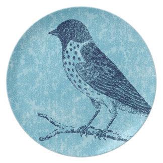 Bird on Branch Blue Plates