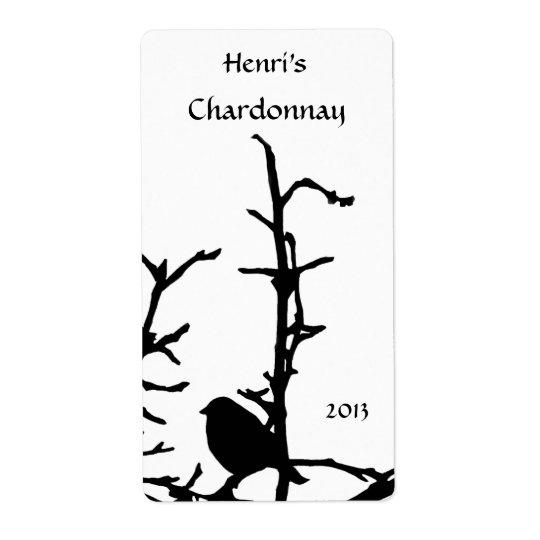 Bird on Branch White Wine Shipping Label