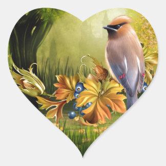 Bird On Pond Green Yellow Heart Sticker