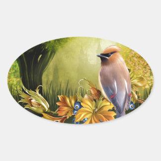 Bird On Pond Green Yellow Oval Sticker