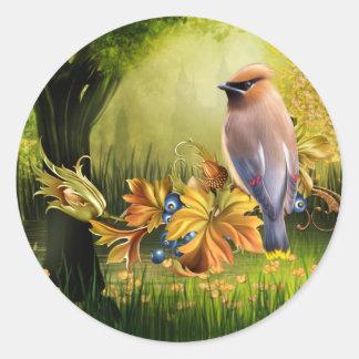 Bird On Pond Green Yellow Round Sticker