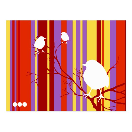 Bird on Red Stripes Postcard