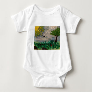 Bird on the Meadow Baby Bodysuit