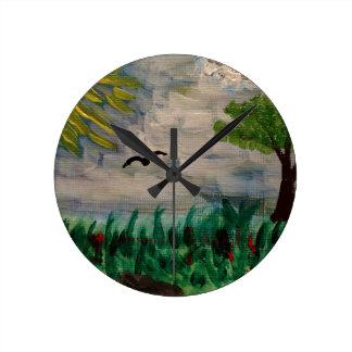 Bird on the Meadow Round Clock