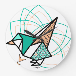 Bird origami wall clock