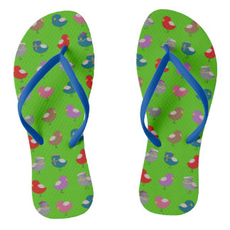 Bird Pattern Cartoon Cute Colorful Bright Vibrant Flip Flops