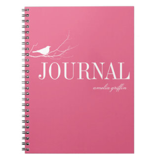 Bird perched on tree branch pink custom journal