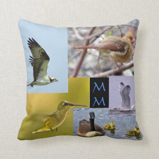 bird photo collage throw pillow