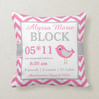 Bird Pink Gray Baby Announcement Pillow