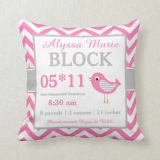 Bird Pink Gray Baby Announcement Pillow
