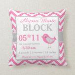 Bird Pink Grey Baby Announcement Pillow