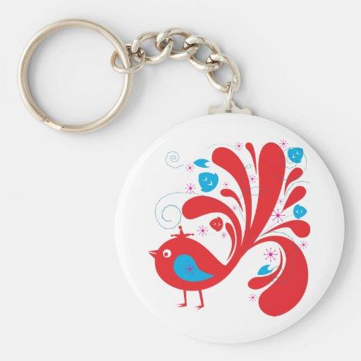 Bird ~ Red and Blue Birds Keychain
