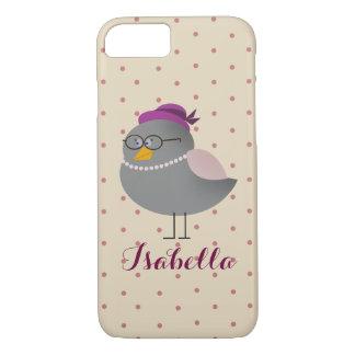 Bird Retro Cute Cartoon with Glasses Polka Dots iPhone 8/7 Case