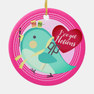 Bird seamstress sewing quilting Christmas ornament