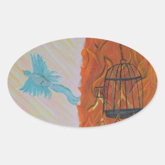 Bird Set Free Oval Sticker