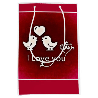 Bird Silhouette I Love You Hearts Gift Bags