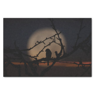 Bird silhouette in the moonlight illustration tissue paper