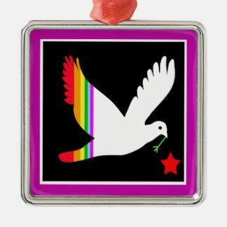Bird Silver-Colored Square Ornament