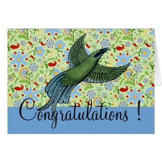 Bird Simply Flowers - Congratulations Card