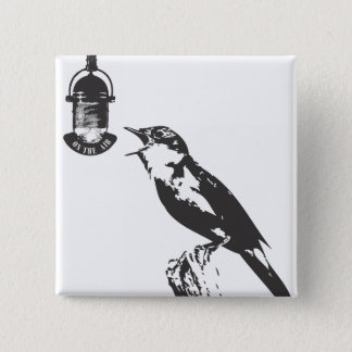 BIRD SINGING 2 INCH SQUARE BUTTON