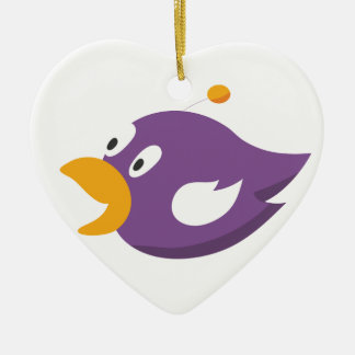 bird singing and shouting ceramic heart ornament