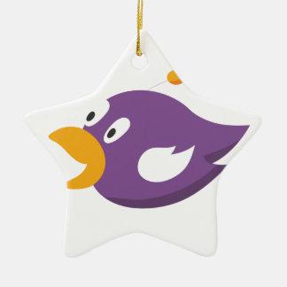 bird singing and shouting ceramic star ornament