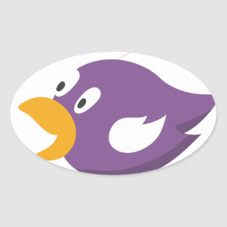 bird singing and shouting oval sticker