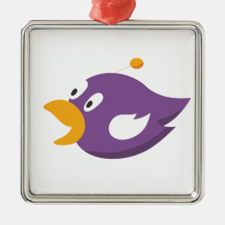 bird singing and shouting Silver-Colored square ornament