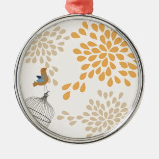 Bird singing outside the cage Silver-Colored round ornament