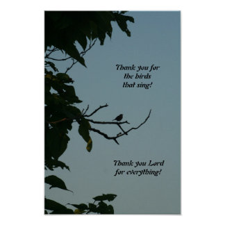Bird singing, thank you Lord! poster
