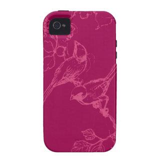 Bird Sketch on Fuchsia Phone Case Vibe iPhone 4 Covers